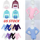 Girls Long Sleeve Dance Leotards Kids Ballet Gymnastics Sport Outift Set Costume