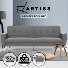 Artiss Sofa Bed Lounge Futon Couch 3 Seater Day Beds Fabric Scandi Wood 197cm