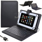 "US PU Leather Stand Case Cover Micro USB Keyboard For Various 7""-8"" inch Tablets"