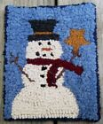 Snowman with Star Primitive Rug Hooking KIT WITH #8 CUT WOOL STRIPS