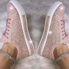 Womens Bling Glitter Trainers Ladies Lace Up Breathable Sneakers Flat Shoes Size