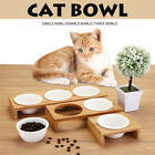 Three Bowls Pet Ceramic Bowl Elevated Cat Bamboo Feeder Raised Stand Fountain