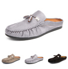 Mens Slippers Slip on Loafers Shoes Flats Round Toe Gommino Moccasins Breathable