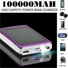 Portable 100000mAh Solar Battery Charger Power Bank LED 2 USB For Mobile Phone