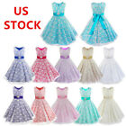 US Kids Flower Girl Floral Lace Dress Wedding Bridesmaid Party Pageant Ball Gown