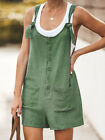 UK Womens Linen Cotton Jumpsuit Dungarees Pocket Shorts Playsuit Overalls Shorts