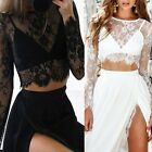 Women's Crop Tops Splicing Mesh Perspective Long Sleeve Sexy Lace Foral T Shirts