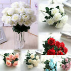 10heads Silk Rose Artificial Flowers Bunch In Vase Bouquet Wedding Home Decor Yy