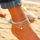 Fashion Love Heart Ankle Bracelet Foot Chain 925 Silver Women Beach Anklet Gifts image