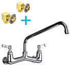 "8 Inch Center Commercial Faucet Wall Mount Kitchen Faucet with 14"" Swing Spout"
