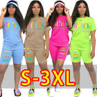 Women's Casual Short Sleeves Lovely Letter Print Two-Piece Short Pants Set Sport