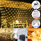 3x2m Led String Fairy Net Lights Curtain Mesh Garden Home Party Wedding Decor Uk