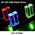 Black Crystal DJ USB 2.0 Flash Drive 64GB 32GB Storage Car Music LED Pendrive