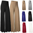 Women OL Office Loose Stretchy High Waist Wide Leg Long Pants Palazzo Trousers