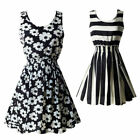 Women Sundress Summer Beach Chiffon Mini Dress Sleeveless OL Floral Pleated Tank