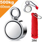 500/600kg Double Sided Round Recovery Salvage Neodymium Fishing Magnet 20m Rope