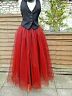 womens tutu skirt tulle black red adult long gypsy gothic wedding prom steampunk