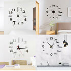 Large Modern Wall Clock 3D Mirror Stickers Mute Watch DIY Bedroom Home Decor US