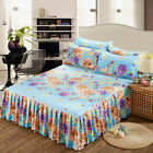 3Pcs/Set Bed Skirt Pillowcases Bedding Twin/Full/Queen/King Size 15 Styles