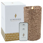 "Luminara 7"" Flameless Candle Pillar Glitter LED Light Real Flame Effect Remote"