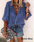 Womens 3/4 Sleeve Shirt Top Ladies Loose Fit Button Down Casual Blouse TShirt