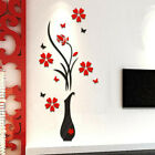 80*40cm Crystal Arcylic 3d Vase Tree Flower Wall Sticker Living Room Home Decor