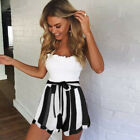 Women Striped Summer Shorts Holiday Beach Ladies High Waisted Hot Pants Size6-18