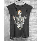 Women Fashion Cool Skull Graphic Ripped Tops Tees Sleeveless Vest Crop Tank Top