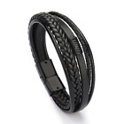Men Leather Handmade Bracelet Braided Wristband Clasp Genuine Brown & Black