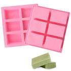 6-Cavity Rectangle Soap Mold Silicone Mould Tray For Homemade Craft DIY Tools US