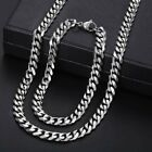 7mm Mens Necklace Bracelet Jewelry Set Stainless Steel Curb Cuban Chain Silver