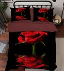 3D Red Rose 65 Bed Pillowcases Quilt Duvet Cover Set Single Queen King Size AU