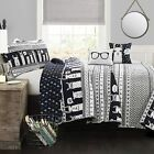 Lush Decor Llama Striped Quilt Reversible 4 Piece Kids Bedding Set, Twin, Navy