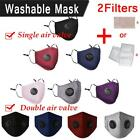 Reusable Washable Pm2.5 Anti Pollution Face Mask Protection Respirator+ 2 Filter