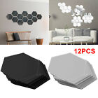 12Pcs 3D Hexagon Acrylic Mirror Wall Stickers Home Room DIY Art Removable Dector