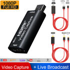1080P HDMI to USB2.0 Video Capture Card Recorder Phone Game/Video Live Streaming