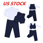 3PCS Kid Baby Boys Gentleman Outfits Formal Party Shirt +Pants Vest Sets Clothes