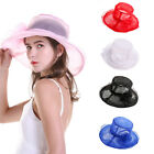 Women Summer With Floral Fashion Church Wedding Party Wide Brim Organza Sun Hat