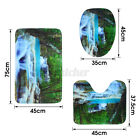 US Waterfall Shower Curtain Bathroom Non-Slip Toilet Cover Lid Rug Mat Doormat