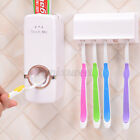 1 Set Automatic Toothpaste Dispenser + 5 Toothbrush Holder Rack Wall Mounted US