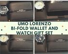 Black Bi-Fold Leather Wallet & Analog Quartz Watch Set, Various Colors and Style
