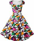 Hanpceirs Women's Cap Sleeve 1950s Retro Vintage Cocktail Swing Dresses with Poc