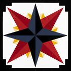 Patchwork Design Hand Painted Barn Quilt-Mariner's Compass-Choose Color  Size