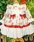 DREAM BABY GIRLS TRADITIONAL STRAWBERRIES NETTED FRILLY LONG SLEEVED DRESS