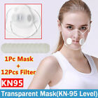 Reusable Clear Visible Face Mask Respirator Purify Air Valves &12x Filter Pads