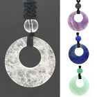 Natural Quartz Crystal Stone Round Hollow Lucky Coin Gemstone Pendant Necklace