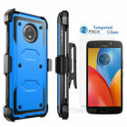 For Motorola Moto E4 2017/Moto E4 Plus Case Belt Clip + Tempered Glass Protector
