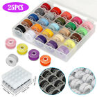 25Pcs Sewing Machine Bobbins Thread Spools Case Threads Set for Singer Babylock