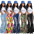 NEW Stylish Women Ripped Tassel Burn Out Patchwork Casual Long Jeans Bottom