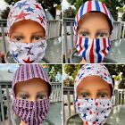 New Patriotic Scrub/Hat  Face Mask with buttons  Filter Pocket Matching Set